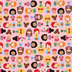 Tissu Robert Kaufman rose avec des super héros filles - Tissus pour garçons - Tissus - boutique kawaii modeS4u