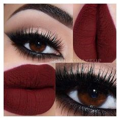 """Tanias Life on Instagram: """"#Smokey eyes deep #red lipstick... ❤ liked on Polyvore featuring beauty products, makeup, lip makeup, lipstick and lips"""