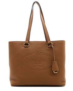d8c48462c291 Prada Women s Brown Vitello Daino Prada Calfskin Leather Shopping Tote  1BG100. Queen Bee of Beverly Hills