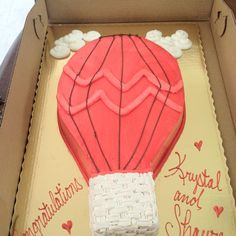 Our engagement party cake - hot air balloon. Made by Publix Bakery. Hot Air Balloon Cake, Cherry Blossom Theme, Barbie Theme, University Of South Florida, Engagement Invitations, Second Weddings, Party Planning, Engagement Photos, Our Wedding