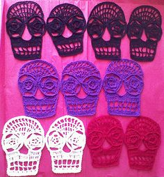 Ravelry: Blanca Crochet Day Of The Dead Applique Skull Pattern pattern by Spider Mambo