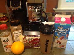 Chocolate Orange Pecan Shakeology   3/4C unsweetened almond milk, 1 scoop chocolate shakeology, 1/4C Bai antioxidant infusion clementine, 1 frozen orange, dash cinnamon, 1 tblsn raw pecans blend and enjoy!