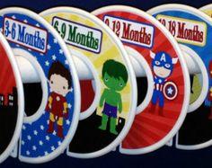 6 Custom Baby Closet Dividers Organizers - Superhero Super Hero for Baby Boy Nursery Baby Shower Gift Closet Clothes Dividers
