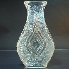 Glas Vase • Eye Vase • Stölzle Oberglas • Mid Century • Space age
