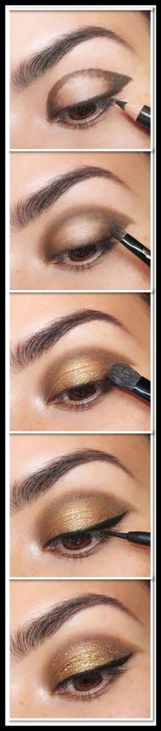 25 Beautiful Eye Make-up Tutorials For Rookies of 2019 Easy Gold Eye Make-up tutorial. Here's a damaged down eye make-up tutorial. What a fantastic technique to get a beautiful eye make-up! Beautiful Eye Makeup, Perfect Makeup, Beautiful Eyes, Pretty Makeup, Dramatic Makeup, Pretty Eyes, Makeup Light, Gorgeous Hair, Skin Makeup