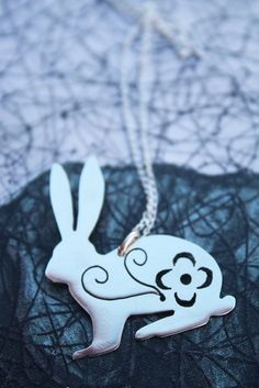 rabbit necklace bunny necklace hare pendant pretty flower jewelry