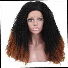 49.80$  Buy now - http://alihew.worldwells.pw/go.php?t=32664225701 -  Lace Front Full wig Ombre Auburn with dark root Afro Kinky Curly Wig  Hairstyles Fashion Wigs 49.80$