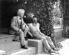 Twain with his longtime friend John T. Lewis, of whom the author remarked: 'I have not known an honester man nor a more respect-worthy one.' Lewis is said to have inspired the character of Jim in 'Huckleberry Finn.'