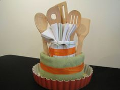 Kitchen Towel Cake: Baking Pan Kitchen Towels Kitchen Rags Spoon Spatula Whisk Scissors Ladle. [Housewarming] [Bridal Shower]