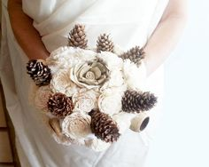 Cream rustic wedding BOUQUET Ivory/Cream Flowers, pine cones, bell cup, burlap,cotton, autumn, winter wedding, sola roses, winter wonderland