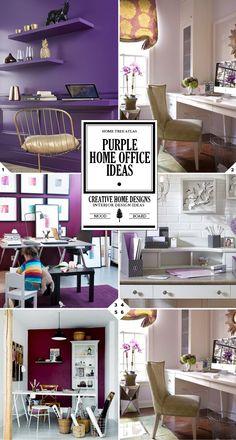 Purple home office decor ideas and design tips