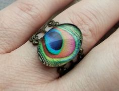 Peacock feather ring antique bronze adjustable by joanniel on Etsy, $9.99