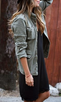 black shift dress and army green anorak jacket