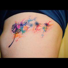 "9d6ed44da Laude Tattoo Art on Instagram: ""#tattoos #tatuaje #tattooart #tattooartist  #pink #pinktattoos #dientedeleon #watercolor #watercolortattoo #acuarela ..."