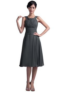 Sunvary Elegant Halter Chiffon Bridesmaid Dresses Knee Length Evening Prom Homecoming Cocktail Pageant Gowns Mother of the Bride US Size 18W- Dark Gray Sunvary http://www.amazon.com/dp/B014XK29LA/ref=cm_sw_r_pi_dp_sBXSwb16VT99R
