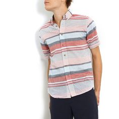 Multi Stripe Button-Up Red red, men's shirts, general assembly