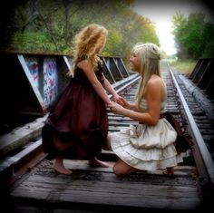 Angela South Photography - Love the dress... Not sure about dragging little girls barefoot onto RR tracks...