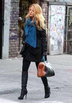 Celebrities in Boots: Blake Lively in Jimmy Choo Knee High Boots. Gossip Girl Set, NYC. 12.14.2011.