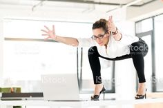 Cheerful female doing gymnastics at job royalty-free stock photo Poses, Memes Gretchen, Draw The Squad, Image Memes, Pinterest Memes, Funny Video Memes, Meme Template, Meme Faces, Stupid Memes