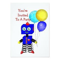 Shop Cute Robot Boys Birthday Party Invitations created by Flissitations. Boy Birthday Invitations, Invites, Kids Party Games, Boy Birthday Parties, Party Planning, Robot, Boys, Party Games For Kids, Baby Boys