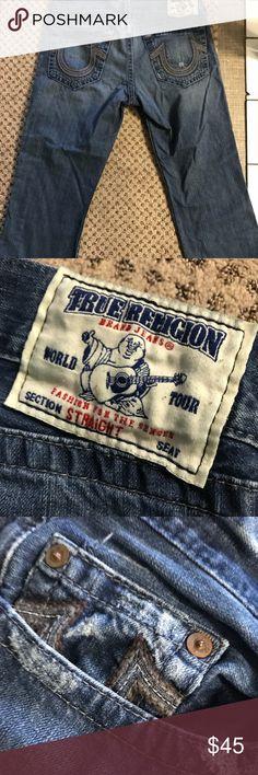 """Men's true religion jeans gently worn In seam is 26"""" waist 38. Dark denim True Religion Jeans"""