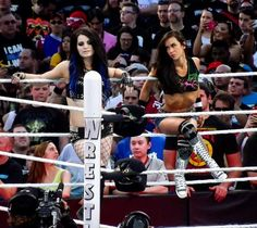 Paige & AJ Lee - Wrestlemania 31. Oh! And in my opinion I think the girl in the audience to the left of Paige in the sleeveless top is kinda cute too :)