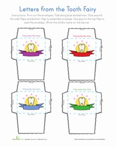 Kindergarten Paper Projects Worksheets: Tooth Fairy Letter Worksheet