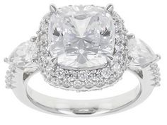 Bella Luce (R) 11.33ctw Amkor Cut, Pear Shape And Round Rhodium Plated Sterling Silver Ring