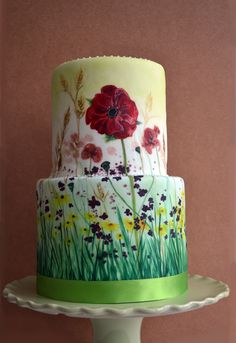 How To Hand Paint Cakes | Hand-painted 'Meadow Wedding' cake | Lorna's Cakery