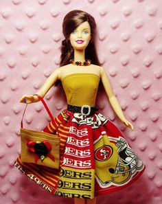 Barbie Sports - San Francisco 49ers Dress, Purse, Necklace, Belt and Shoes - Handmade
