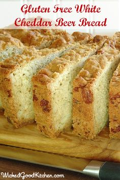 White Cheddar Beer Bread with Herbs by WickedGoodKitchen.com ~ A scrumptious yeasty-tasting bread, thanks to the beer and Cheddar cheese additions! #quick #easy #glutenfree #bread #recipe
