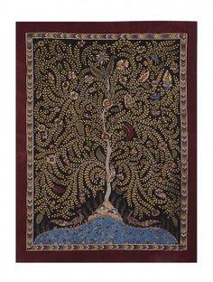 Tree of Life with Peacock Mata Ni Pachedi Kalamkari Artwork 41in x 29in