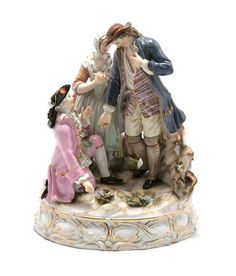 Meissen Porcelain Figural Group  Modeled in the form of a gentleman dressed in a lilac coat and black tricorner hat on bended knee before another gentleman and his betrothed,