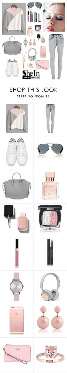 """""""Pink n Grey in Block"""" by tainted-scars ❤ liked on Polyvore featuring Cheap Monday, Yves Saint Laurent, Givenchy, Maison Francis Kurkdjian, Chanel, Olivia Burton, B&O Play and Coach"""