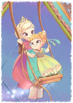 Anna and Elsa as children