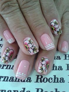 Flowers Nail Art New Idea for Spring - Reny styles Flower Nail Designs, Flower Nail Art, Cool Nail Designs, Spring Nails, Summer Nails, Luminous Nails, Pretty Nail Art, Fancy Nails, Fabulous Nails