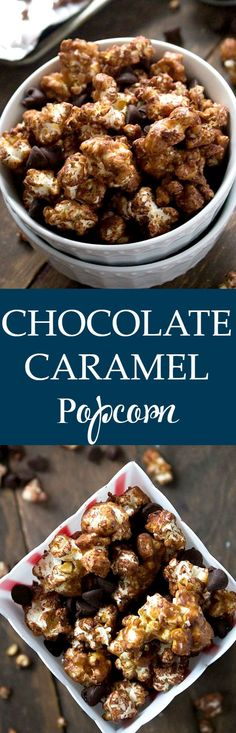 This chocolate and caramel combination makes a popcorn snack with a crunchy, sweet and salty deliciousness! Get the recipe on diethood.com