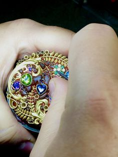 Setting stones in the Jardiniere pendant. 3 Stone Rings, Wide Band Rings, Green Diamond, Diamond Art, 3 Stone Engagement Rings, Gold Feathers, Chichester, Bespoke Jewellery, Dress Rings