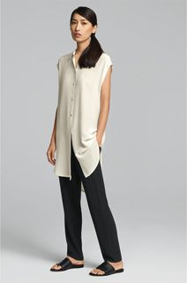 EILEEN FISHER Spring Icons Collection: Collard Silk Tunic + Drawstring Ankle Pant