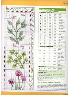 The Herb Kitchen - chart 1 Cross Stitch Boards, Mini Cross Stitch, Cross Stitch Needles, Cross Stitch Samplers, Cross Stitch Flowers, Cross Stitching, Herb Embroidery, Embroidery Motifs, Cross Stitch Embroidery