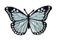 """Iron-On Embroidered Applique : - Light Blue and Black Butterfly - Measures 2"""" x 3"""" or 5.08cm x 7.62cm"""