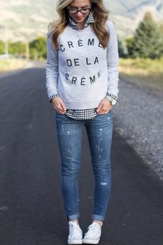 Fall fashion, converse, graphic sweatshirt, JCrew.