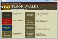 Troop Awards is a program that simplifies printing Boy Scout and Cub Scout rank advancement cards. Also prints card certificates for merit badges, activity awards, Pinewood Derby, and many others.  Use official BSA card sheets or make your own.  Also, print a photo directory, photo event calendar and journal.