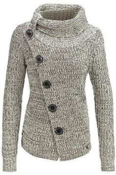 Chic Turtleneck Long Sleeve Button Design Knitted Jacket For Women