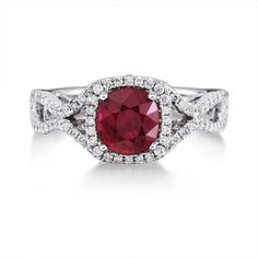 18K White Gold 1.98 carats cushion cut Mozambique Ruby with Diamond Ring - rrzcu0125198qi