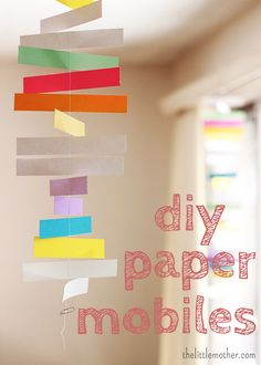 DIY paper mobiles | thelittlemother.com    need to make more things out of paper to hang...