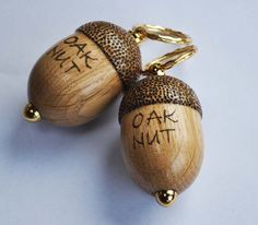 Evergreen oak acorn key rings, with an inscription which is a family joke in the purchaser's family.