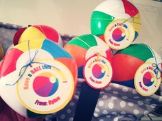 End of school year gifts I made for my daughters kindergarten class! The mini beach balls were a hit!
