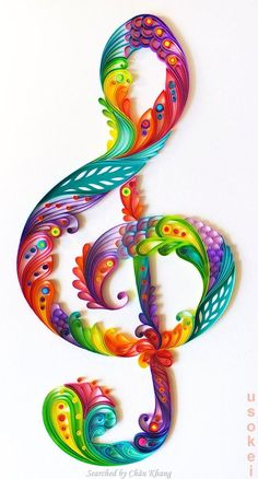 @ Usokei- Quilled treble clef pictures (Searched by Châu Khang):