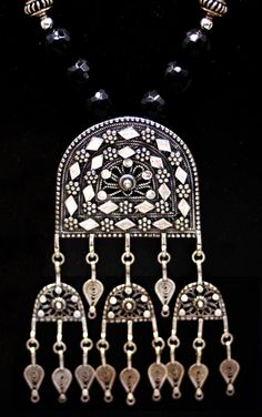 Yemenite Sterling Silver Filigree and Black Onyx amulet necklace by SilkRoadJewelry